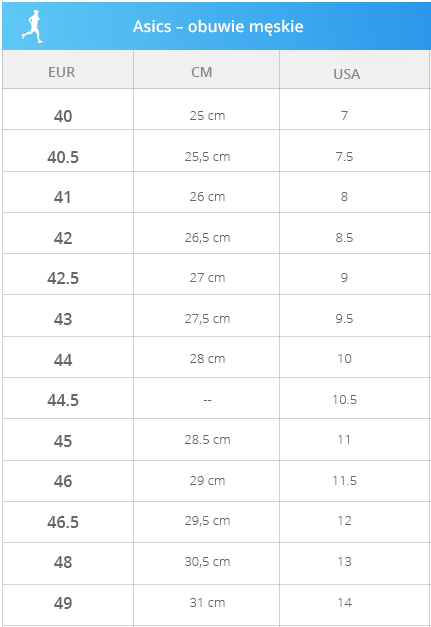 Asics - obuwie męskie - tabela rozmiarowa